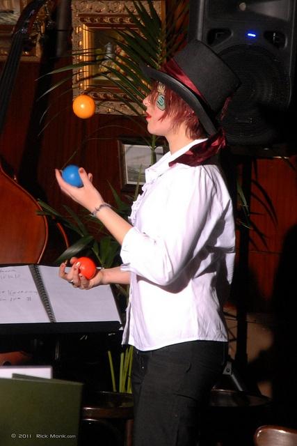 Juggling - Miss Kim Roving Juggling at the Victoria Room. Photo: Rick Monk