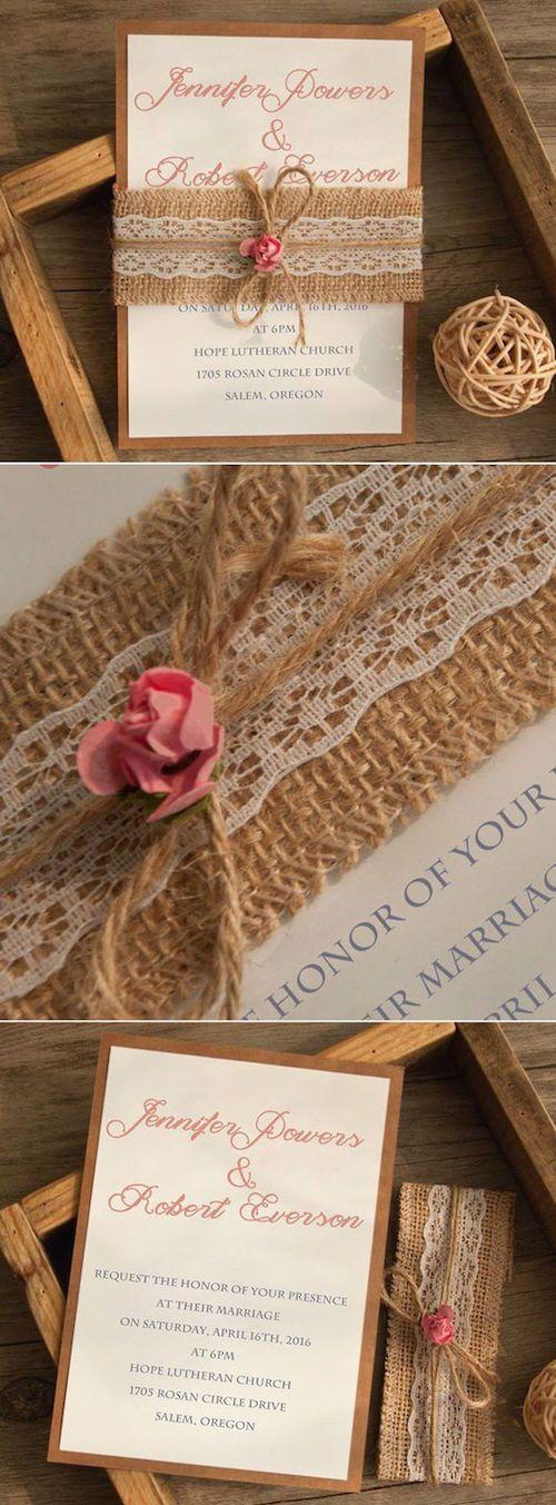 Invitaciones de boda rústicas con arpillera, puntilla y un toque de melocotón (BYWL).