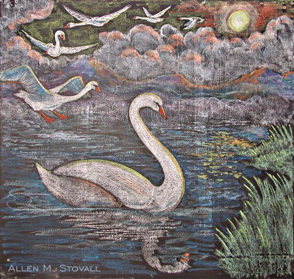 Waldorf ~ 1st grade ~ Language Arts ~ Fairy Tales ~ The Six Swans ~ chalkboard drawing