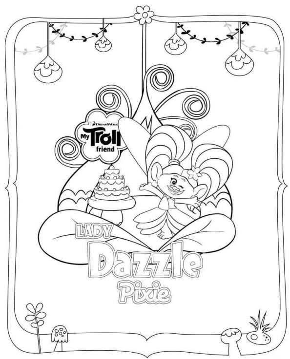 kids n funcom trolls dazzle kids colouringcoloring pagestroll
