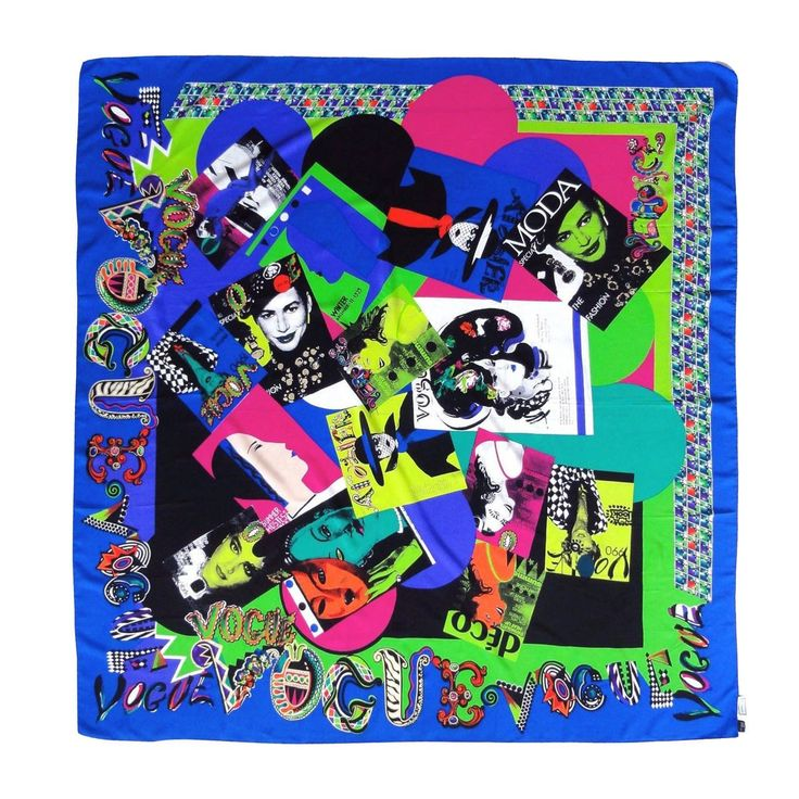 Iconic GIANNI VERSACE VOGUE Covers Print for AIDS Silk Shawl Scarf  C1990   From a collection of rare vintage scarves at https://www.1stdibs.com/fashion/accessories/scarves/