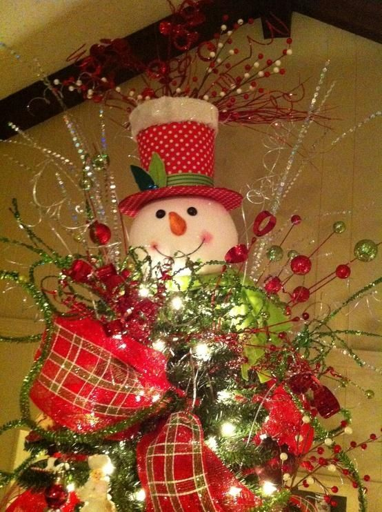 Christmas tree with cute snowman topper