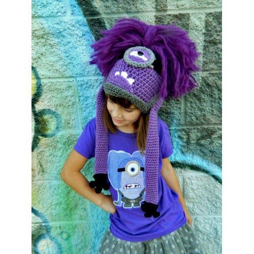 Вязаная шапочка фиолетовый Миньон