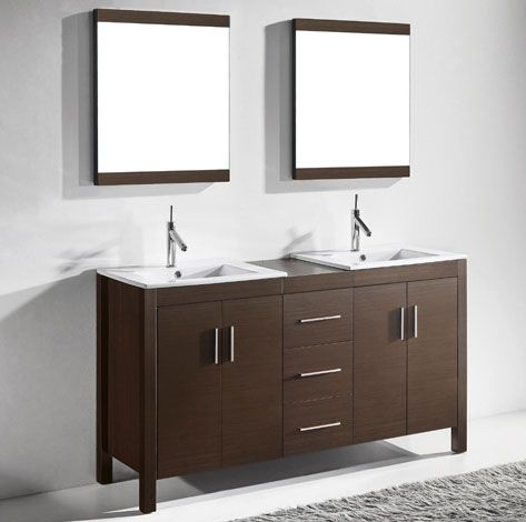 Adornus Trento 60 inch Double Sink Walnut Discount Bathroom Vanities, http://www.listvanities.com/discount-bathroom-vanities.html  Free standing all wood vanity available in Walnut Veneer and White Matt Enamel Finish. Drawers with matching finished interior. Ceramic top with integrated basin, matching mirror and stainless steel handles included Over the past several years, Adornus have pioneered the idea that beautiful living spaces and higher prices does not need to go hand in hand.