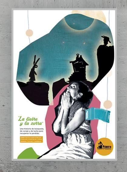 """Cartel para Pilpira Teatro con """"La liebre y la zorra"""".  Teatro y sombras para público familiar, a partir de 3 años"""