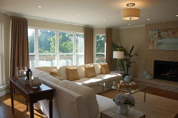 Suzie: our family room  Barcelona coffee table, Mies van der Rohe, Pottery Barn white twill ...