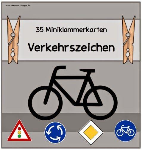 35 Miniklammerkarten zu bekannten Verkehrsschildern Momentan bereitet sich meine Klasse auf die Radfahrprüfung vor. Dazu gehört auch, das...