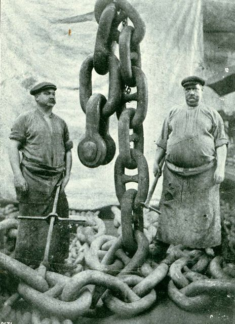 "Anchor Men - Mauretania  This is another illustration of the size and weight of the anchor chains of the ""Mauretania"".    RMS MAURETANIA was one of the most famous ships ever built on Tyneside.    Reference: TWAS Ref: 2931/T/14    (Copyright) We're happy for you to share this digital image within the spirit of The Commons. Please cite 'Tyne & Wear Archives & Museums' when reusing."