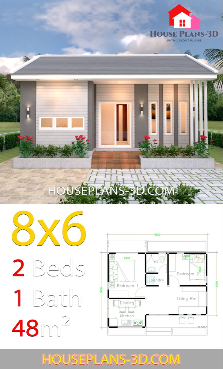 House Design Plans 8x6 With 2 Bedrooms House Plans 3d Small House Design Plans Small House Design Beach House Plans
