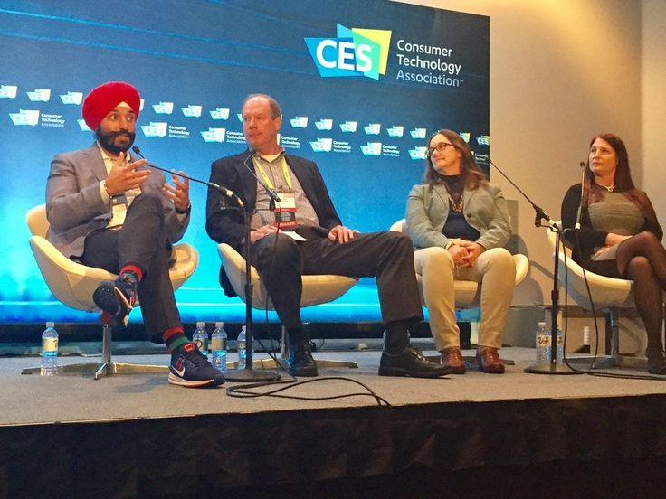 CES 2017: Smart Cities panel. Left to right: Navdeep Bains, Canadian minister of Innovation, Science and Economic Development; Dave Roegge, director of segment marketing for UPS; Brenda Connor, head of Ericsson's smart cities and intelligent transport systems teams; and Beverly Rider, GE's chief commercial officer — digital