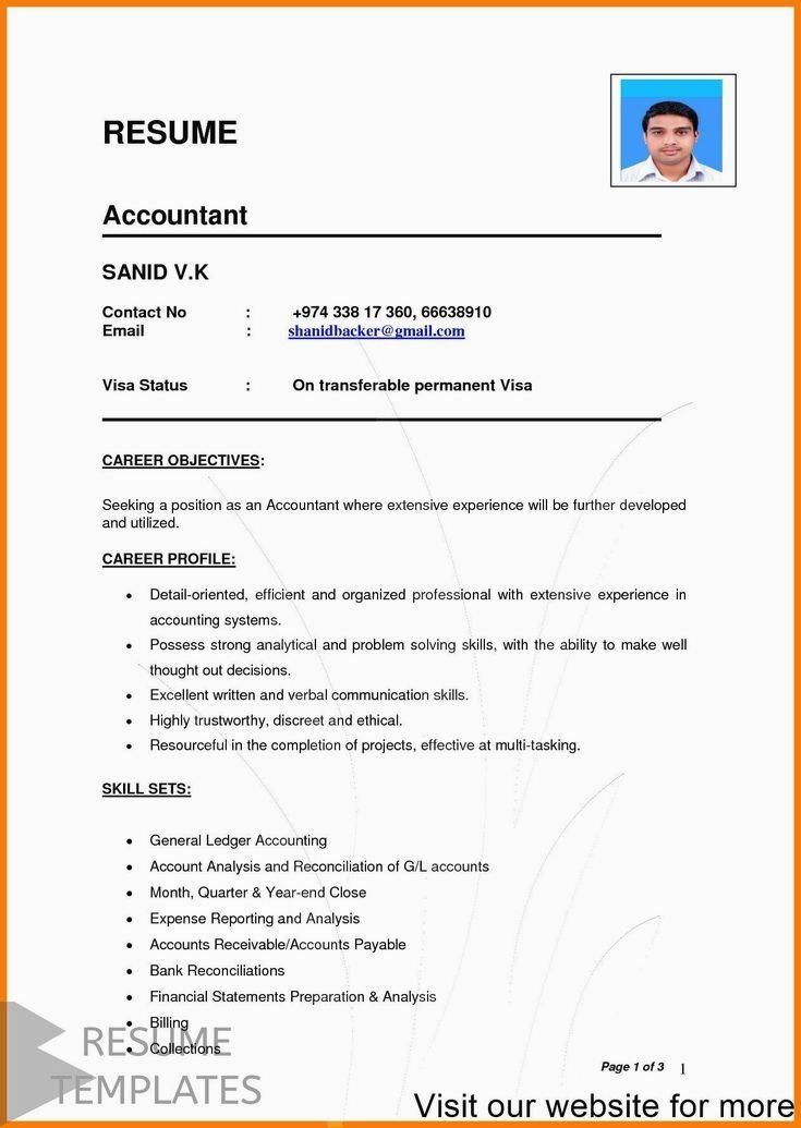 Resume Template With Headshot Photo Cover Letter 1 Page Word Resume Design Diy Cv Templa Resume Examples Professional Resume Examples Basic Resume Examples