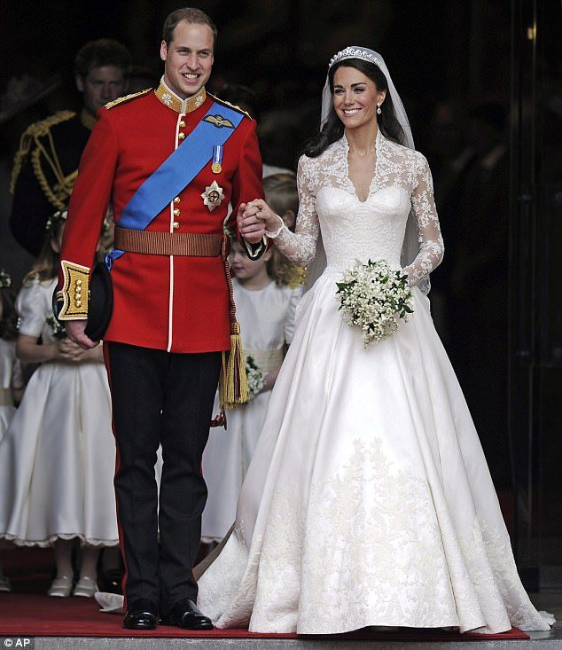 Classic style: HRH Duchess of Cambridge emerges from Westminster Abbey, with her new husband Prince William. Her Alexander McQueen couture dress took its style lead from the Fifties