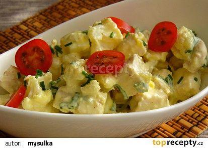 Květákový salát s vejci a kuřecím masem recept - TopRecepty.cz