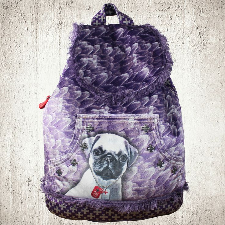 Purple Velvet Backpack Pug Pugssss Pugs Backpacks