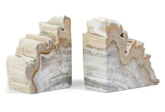 Pair of Petrified-Wood Bookends for books on bottom shelf of hall table OKL $79