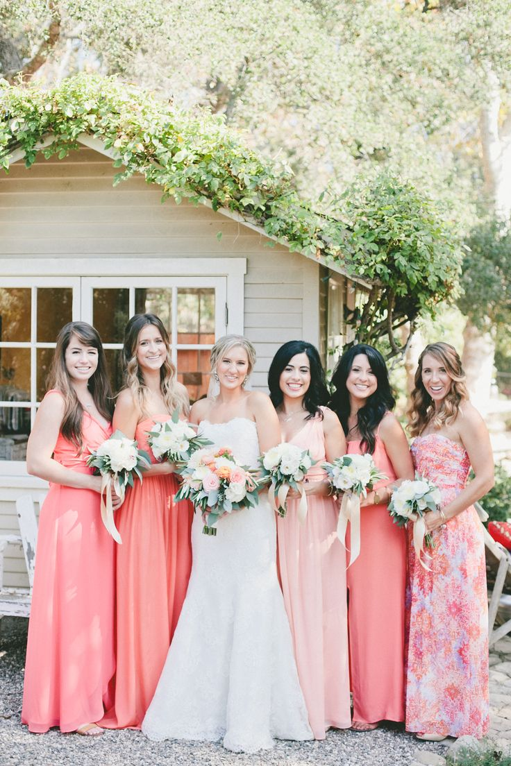 Floor-Length+Coral+Bridesmaid+Dresses