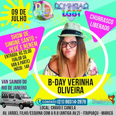 DOMINGÃO LGBT/SHOW COM SIMONE SANTÓ + PEPÊ & NENÉM/CHURRASCO LIBERADO/09 DE JULHO EM ITAIPUAÇU-MARICÁ!