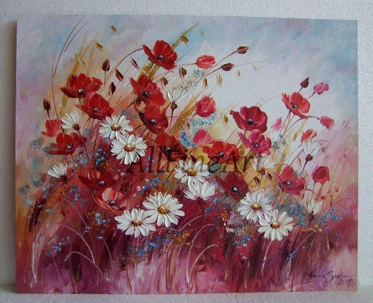 Fiori del prato pittura a olio originale impasto papaveri for Quadri fiori olio