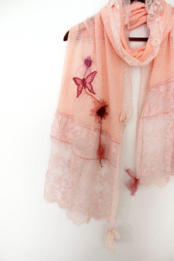 Pink shawl pink lace shawl bridal shawl salmon by Nazcolleccolors