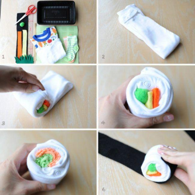 Babyparty-Geschenke-selber-machen-sushi-set-weiss-strampelanzug-babysoeckchen-bastelmaterialien