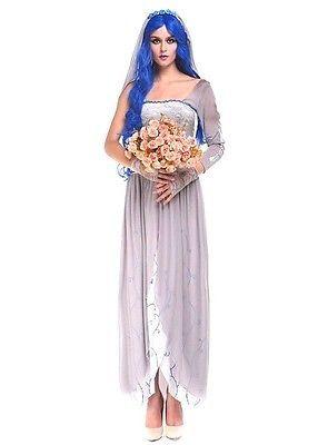 Sexy Dead Zombie Bride Adult Skeleton Womens Halloween Fancy Dress Costume S M