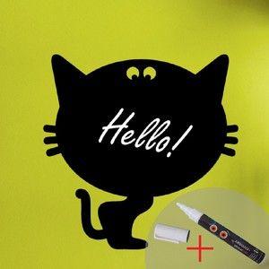 Tabuľová samolepka Cat + biela fixa