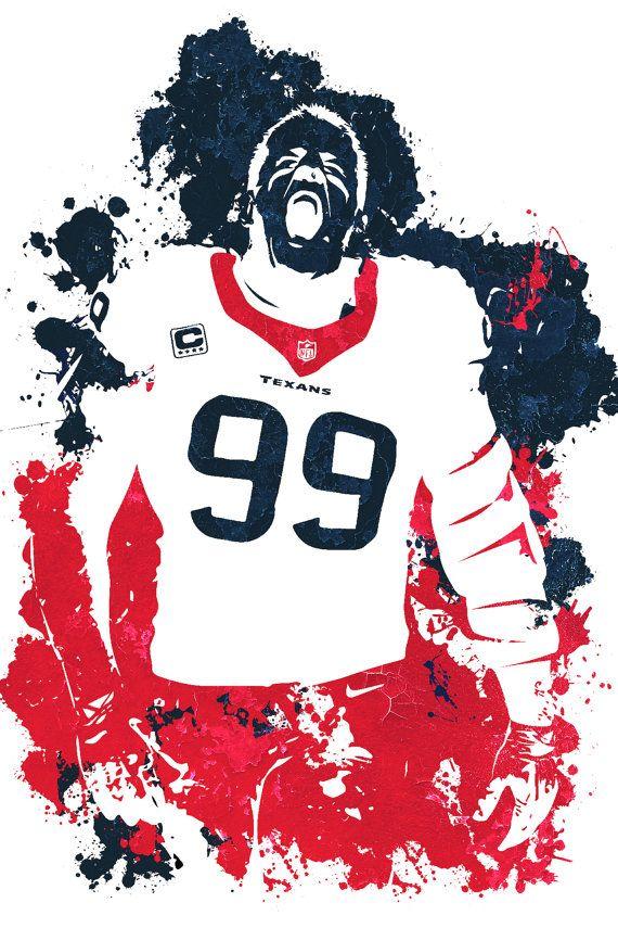 JJ Watt Houston Texans Poster by Gofigureartstudio on Etsy