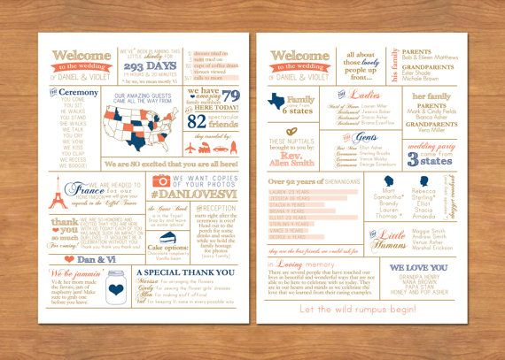 Info Graphic Wedding Program by BisforBrown on Etsy, $40.00