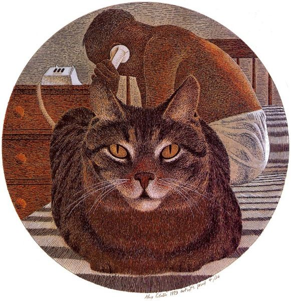 Cat and Artist, by Alex Colville (1920 - July 2013, Canadian)