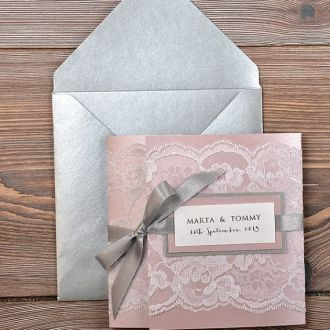 kind of like this, but instead of the pink card would do white with pink lace.