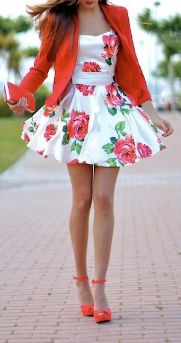 Super cute white summer dress with roses, orange wedge sandals, and a fitted red-orange blazer.