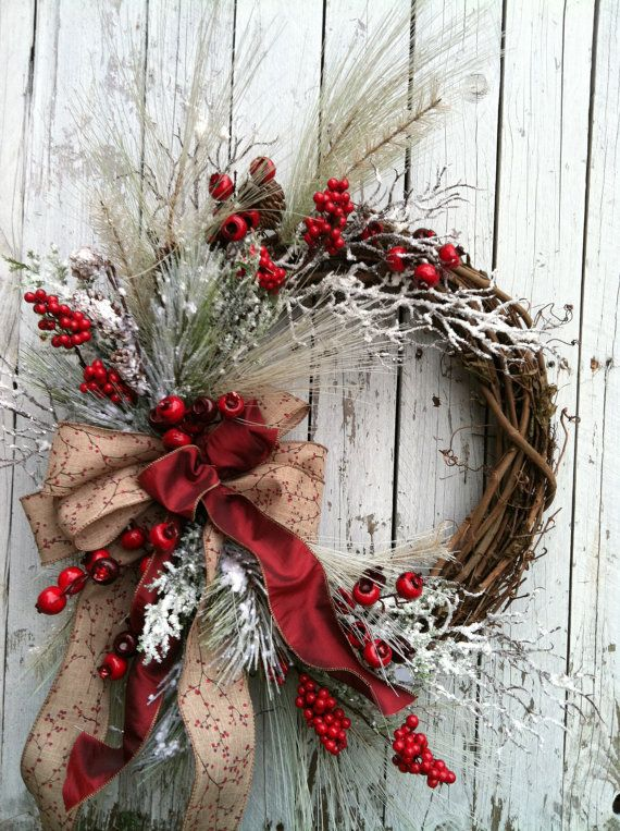 Winter Christmas Wreath for Door - Red and White Holiday Wreath - Country Christmas Wreath