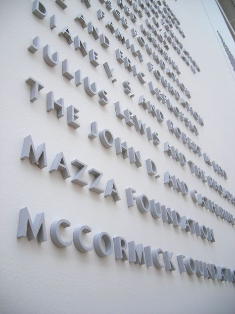Detail of the donor wall, with the type set in Ideal Sans.
