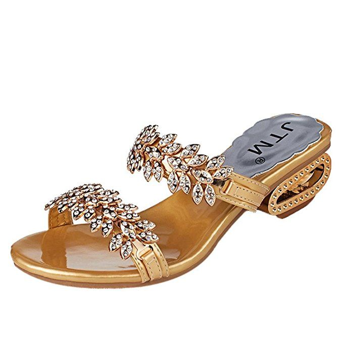 f2d2a411b4 DENER Women Girls Ladies Summer Square Heels Slippers Moccasins,Open Toe  Indoor Outdoor Arch Support Beach Sandals (Gold, 35)