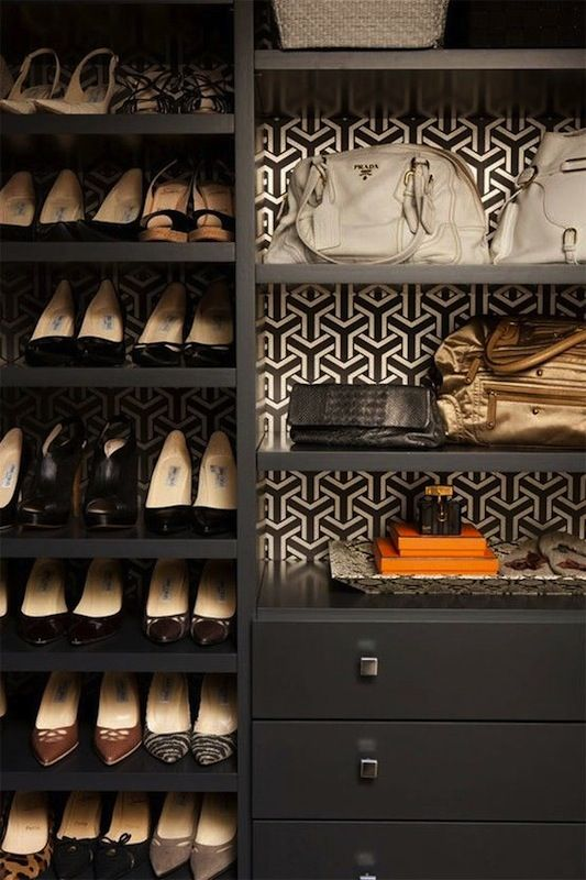 wallpapered closets
