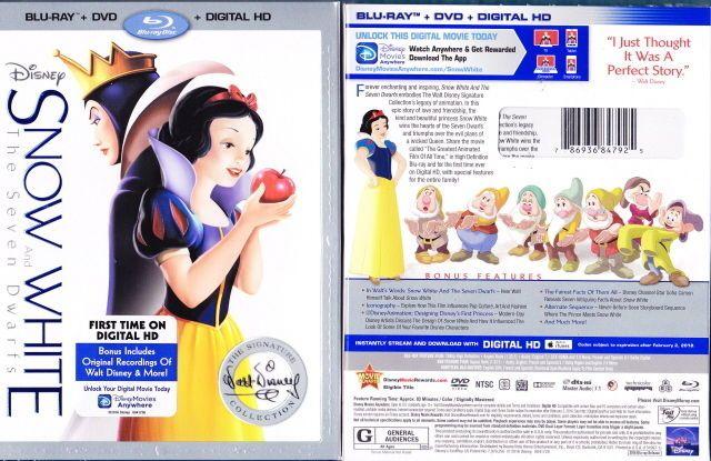 Snow White and the Seven Dwarfs 2016 blu ray DVD & digital HD Disney