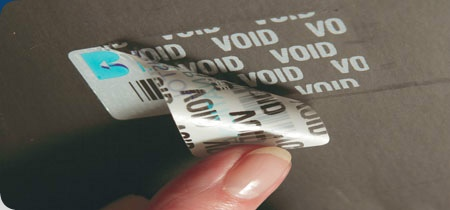 Tamper Evident Labels - If the tamper evident label is removed the word VOID is left on the surface and on the asset label itself clearly showing evidence of tampering.