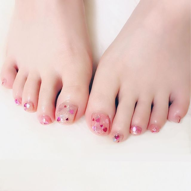 ♡♡♡×Pink ラメ(シルバー、色違いピンク2色) ♡ホロ(シルバー、色違いピンク2色) PREGEL 801 #nail #nails #nailart #ネイル #美甲 #ネイルアート  #clou #nagel #ongle #ongles #unghia #japanesenailart #footnails #フットネイル #ペディキュア #pedicure #ラメネイル #ホログラムネイル #グリッターネイル #glitternails #ハートネイル #Heartnails #きゃりー ちゃん