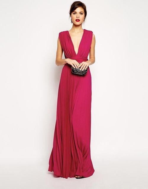 Robe longue rose plissée à décolleté plongeant