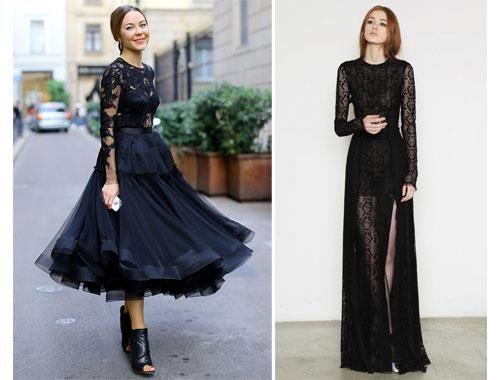 Платье черное с прозрачным декольте
