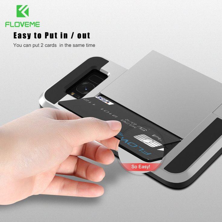 FLOVEME Armor Slide Card Slot Case For Samsung Galaxy S8 S8 Plus