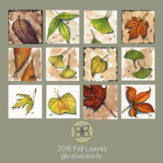 Original Watercolor Leaves Green/Yellow von brettabutterfly