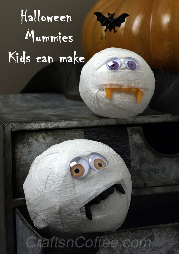 cute halloween craft for kids crepe paper mummies craftsncoffeecom - Cute Halloween Crafts