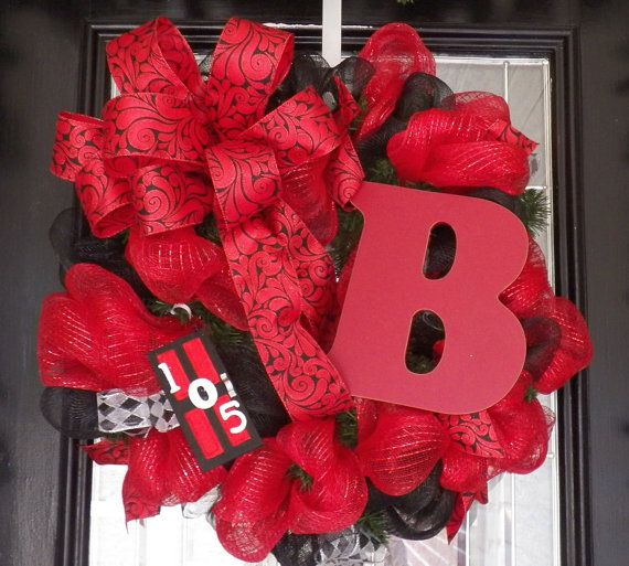 Monogram Wreath Address Hanger Door Hanger by OccasionsBoutique