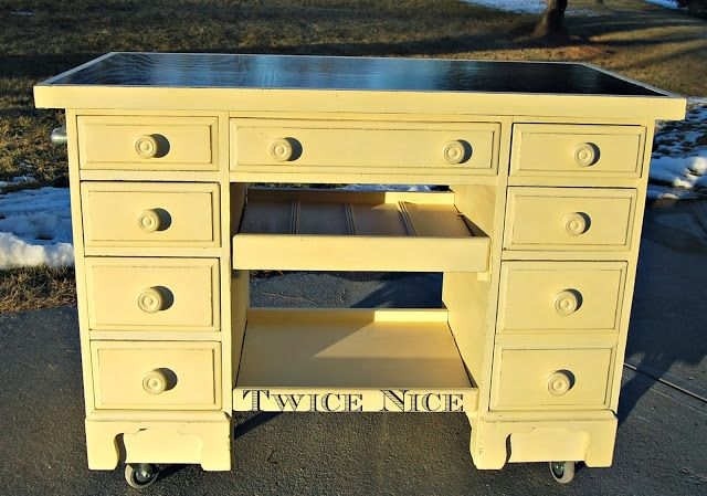 Twice Nice Bar Kitchen Cart Repurposed From An Old Desk Twice Nice Furniture Restyles