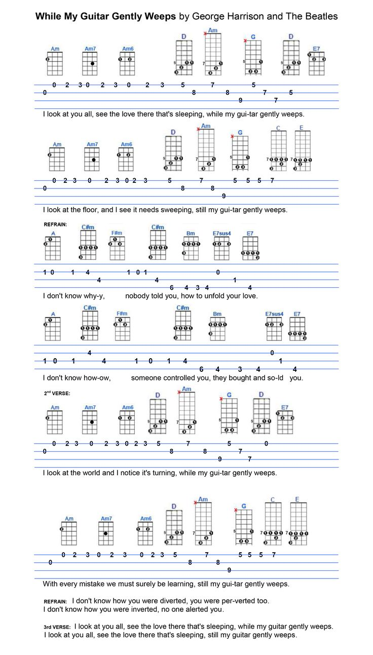 408 best ukulele sheet music images on pinterest music notes while my guitar gently weeps hexwebz Images