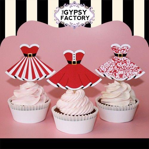 Printable Christmas Cupcake Toppers  Santa Baby by thegypsyfactory, $3.95