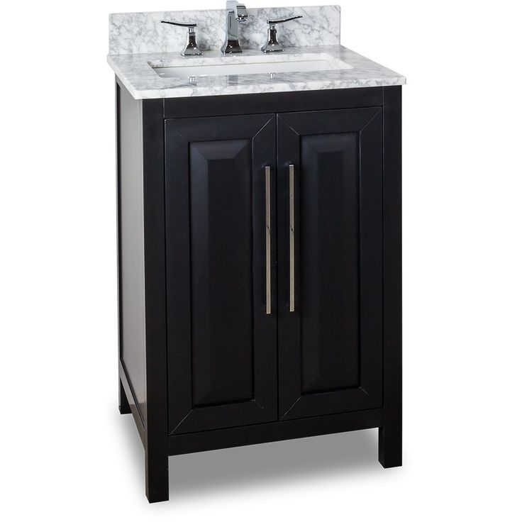 This 24 Inch Bathroom Vanity Black Finish Carrera White Marble Top,  Porcelein Bowl, This
