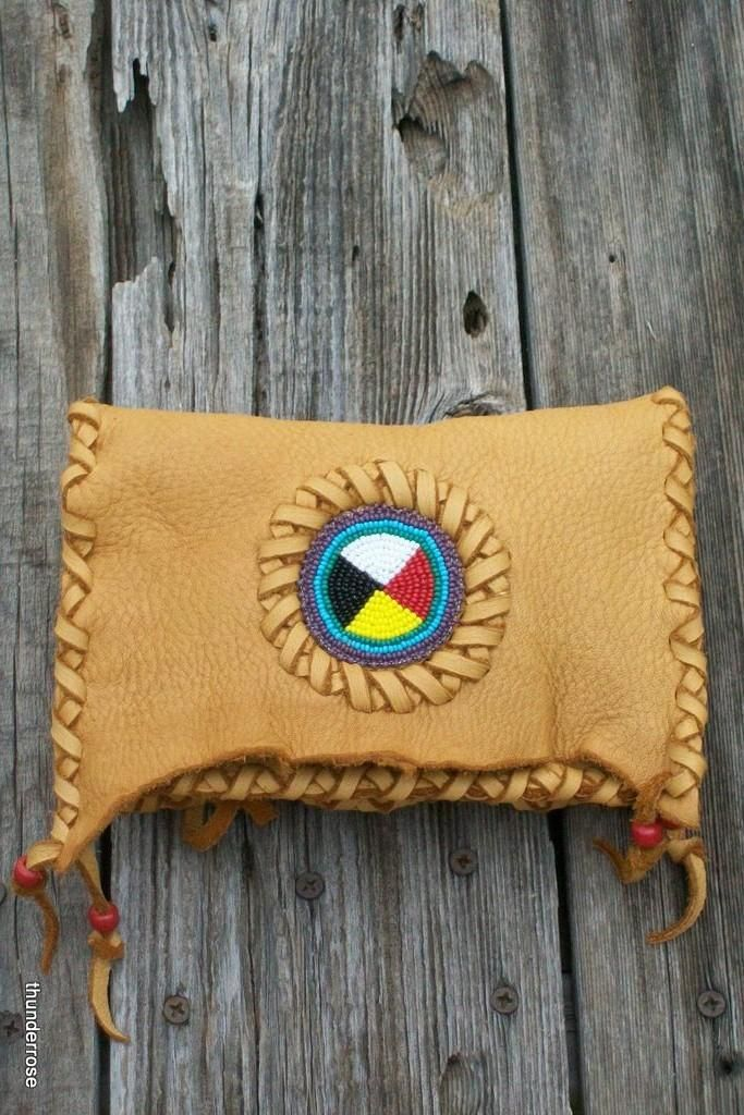 Leather clutch with beaded Four directions Medicine Wheel Beadwork