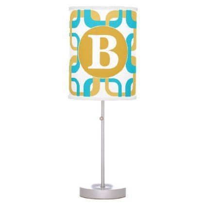 Retro Gold & Turquoise Pattern Monogram Desk Lamp - monogram gifts unique design style monogrammed diy cyo customize